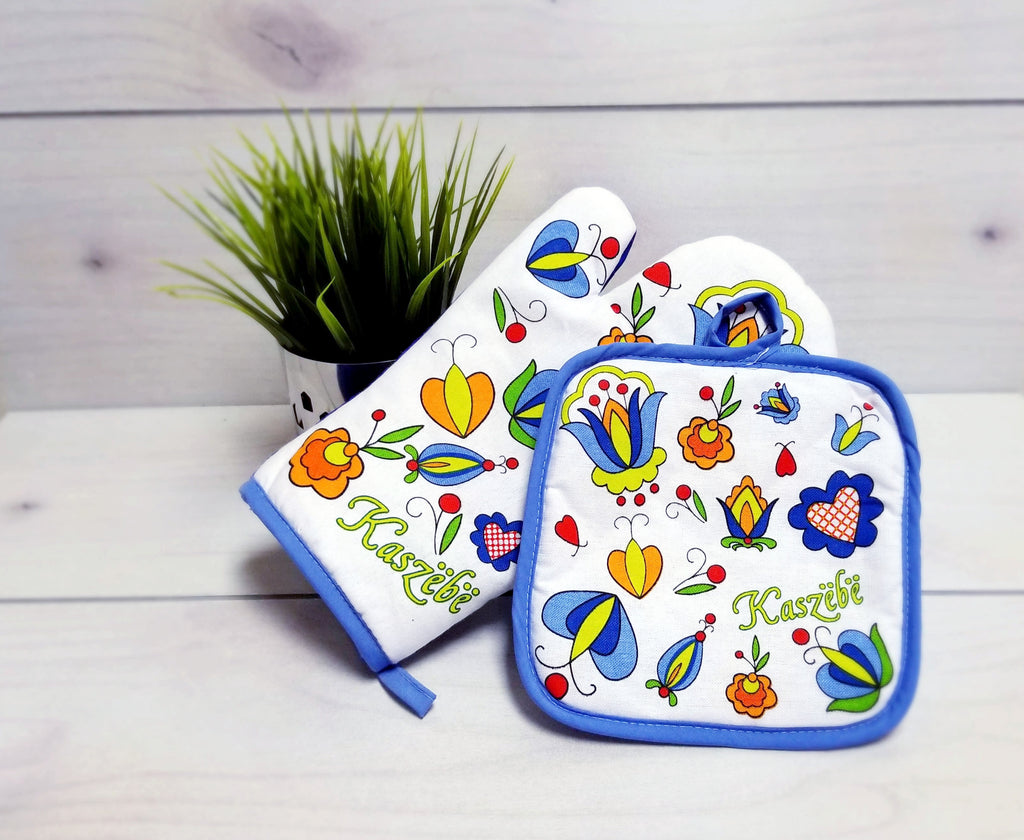 Polish Kashubian Folk Art Oven Mitt & Pot Holder