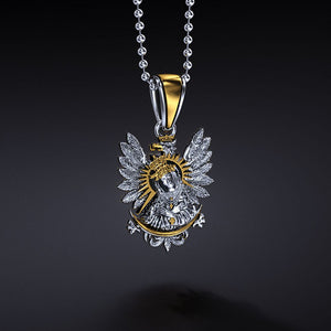 Polish Eagle & Our Lady of the Gate of Dawn Silver Pendant with Gold Plating