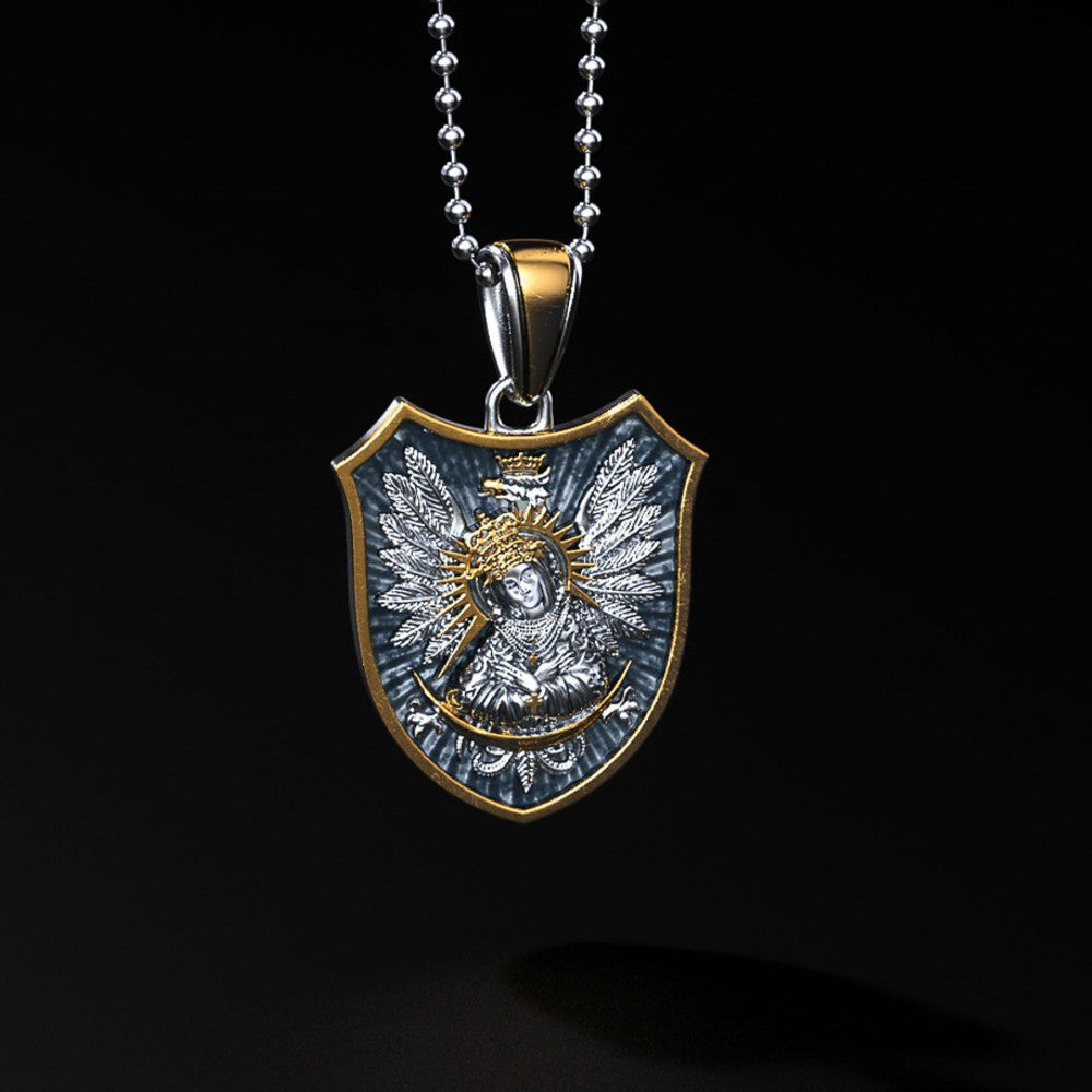 Polish Eagle Shield & Our Lady of the Gate of Dawn Silver Pendant with Gold Plating