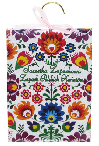 Polish Flowers Scent Hanging Packet Sachet with Lowicz Folk Art