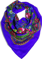 Traditional Polish Ukrainian Folk Cotton Head Scarf - Blue - Taste of Poland  - 1