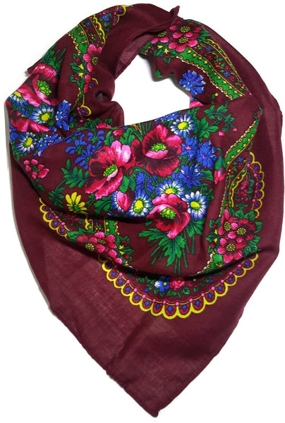 Polish Ukrainian Folk Cotton Head Scarf Burgundy