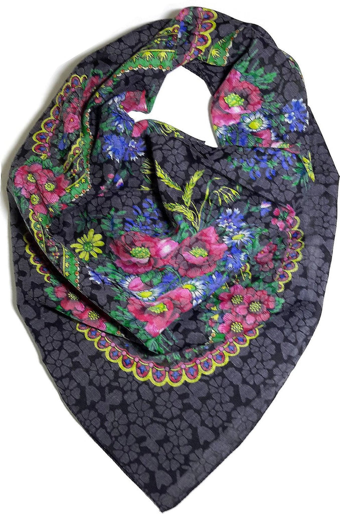 Traditional Polish Ukrainian Folk Cotton Head Scarf - Floral Black - Taste of Poland  - 1