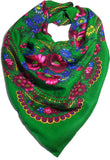 Traditional Polish Ukrainian Folk Cotton Head Scarf - Green - Taste of Poland  - 1