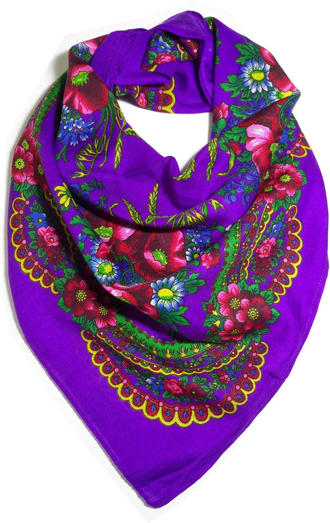 Traditional Polish Ukrainian Folk Cotton Head Scarf - Purple - Taste of Poland  - 1