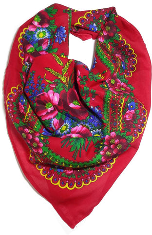 Traditional Polish Ukrainian Folk Cotton Head Scarf - Red - Taste of Poland  - 1