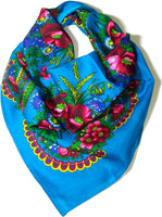 Traditional Polish Ukrainian Folk Cotton Head Scarf - Teal Blue - Taste of Poland  - 1