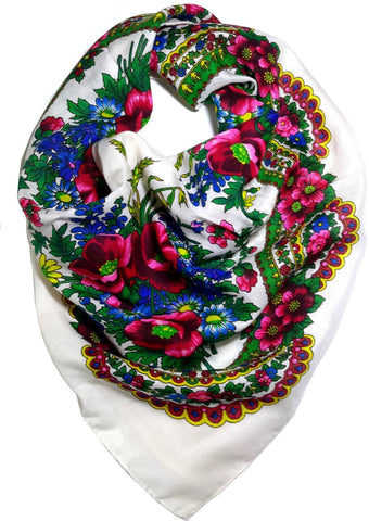Traditional Polish Ukrainian Folk Cotton Head Scarf - White - Taste of Poland  - 1