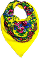 Traditional Polish Ukrainian Folk Cotton Head Scarf - Yellow - Taste of Poland  - 1