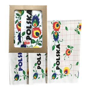 Polish Folk Art Set of 3 Kitchen Towels in Box (Polska Flowers)