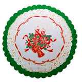 "Polish Two-Toned Christmas Round Table Doily 14""x 14"""
