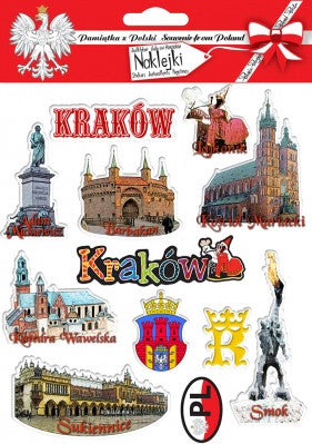 Krakow / Cracow City Stickers, Set of 12
