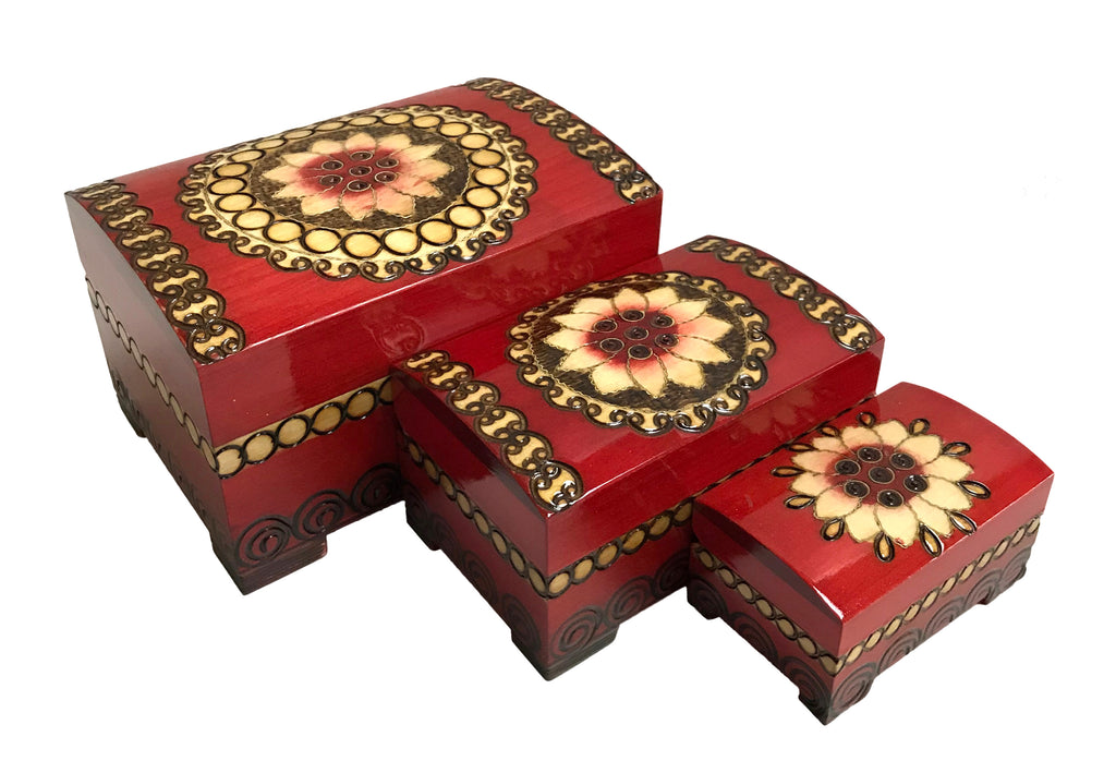 Polish Folk Floral Wooden Nesting Boxes with Brass Inlays, Set of 3
