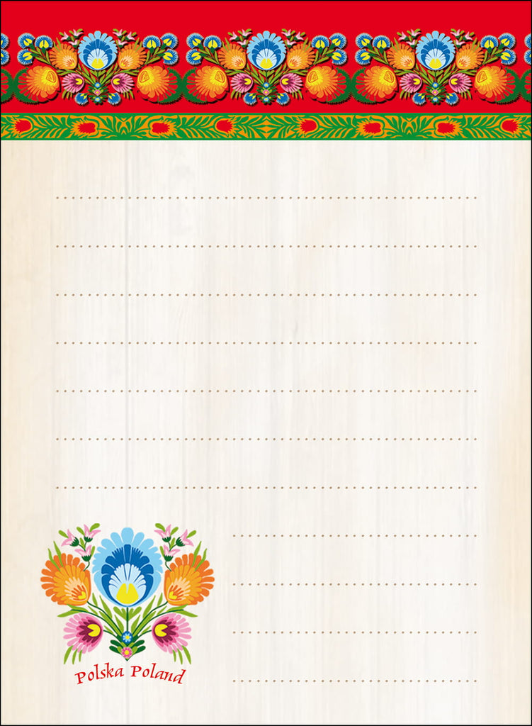 Polish Folk Art Small Magnetic Note Pad, Lowicz Flowers