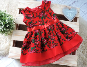 Handmade Baby Girl Toddler Polish Floral Folk Art Dress, Red
