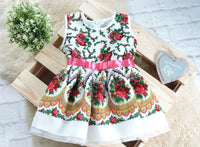 Handmade Baby Girl Toddler Polish Floral Folk Art Dress