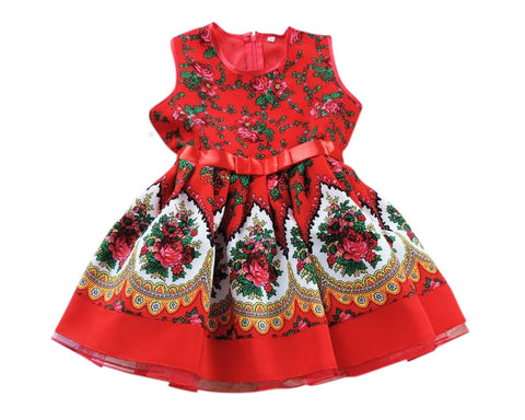 Handmade Baby Girl Toddler Polish Floral Folk Art Dress, Red M (5-6 Years)