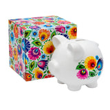 "Polish Folk Art Ceramic Piggy Bank 6"" Long"