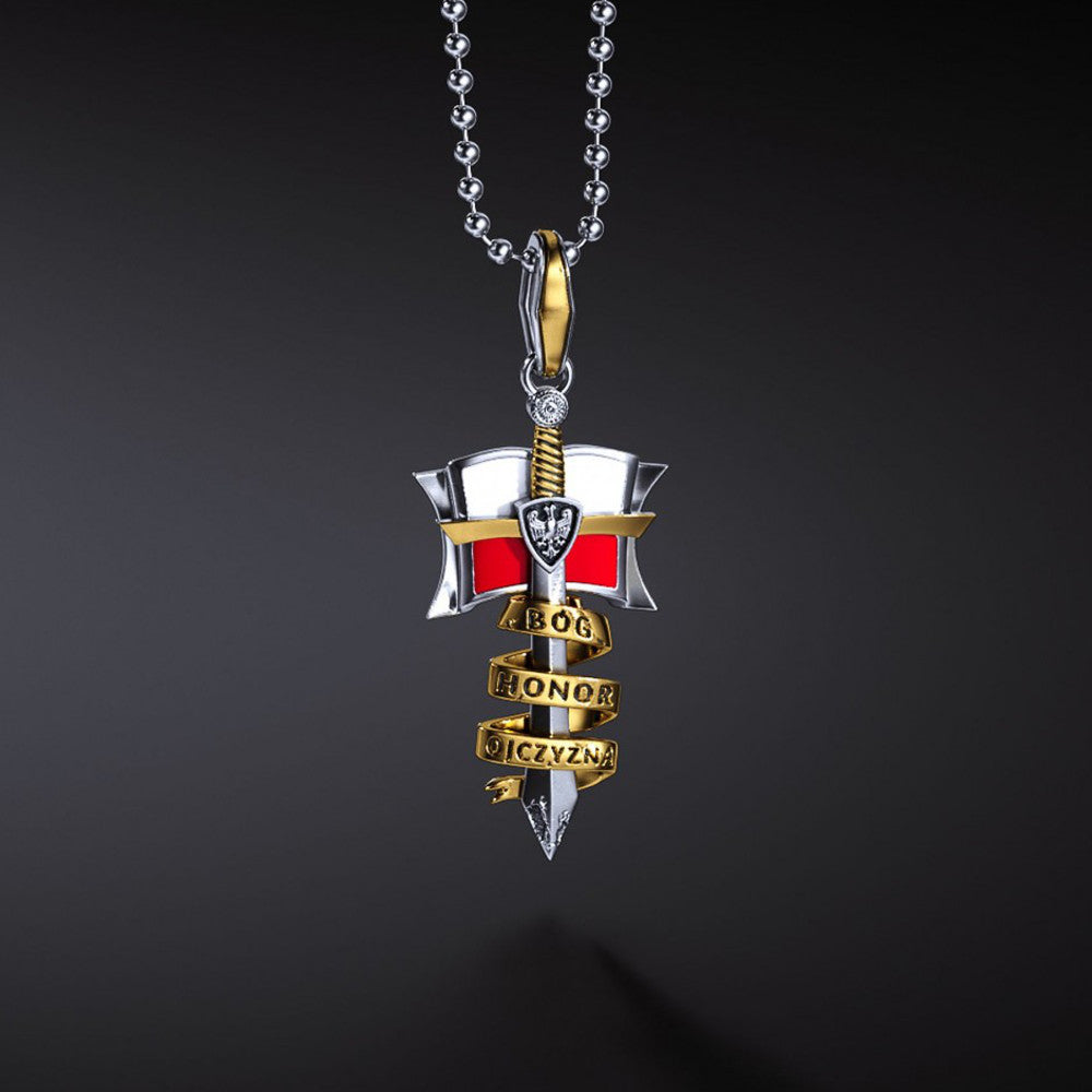 Polish Eagle Flag Szczerbiec Coronation Sword (Bog, Honor, Ojczyzna) Silver Pendant