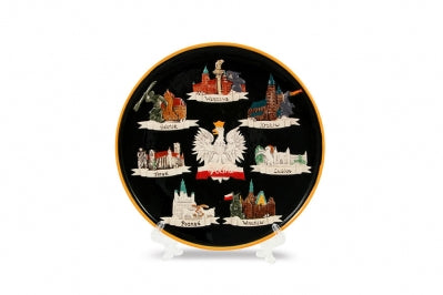 Hand-painted Black Polska Eagle Ceramic Plate featuring Poland's Cities