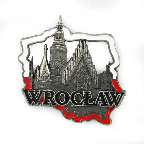 Poland's Contours & Wroclaw's Old Town Hall Metal Magnet