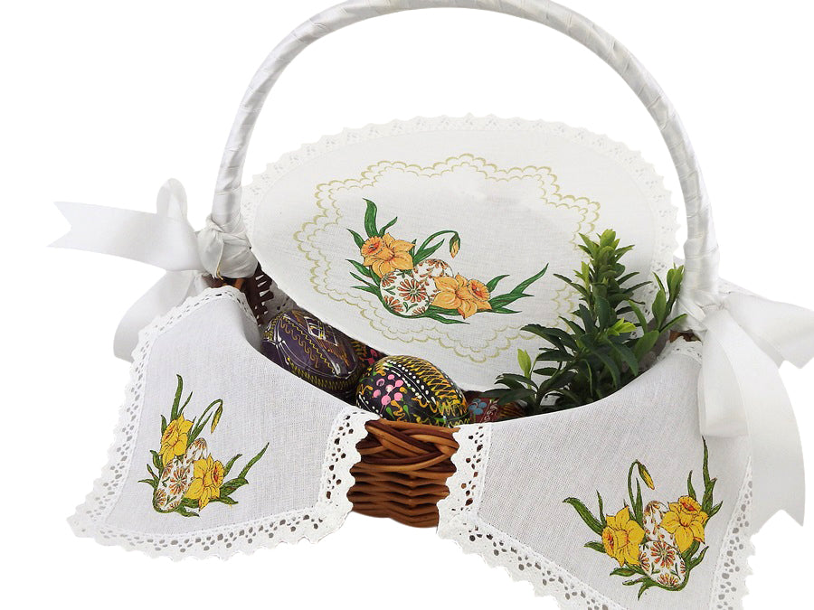 Polish Traditional Doily Liner Set for Easter Basket Blessing with Eggs and Flowers