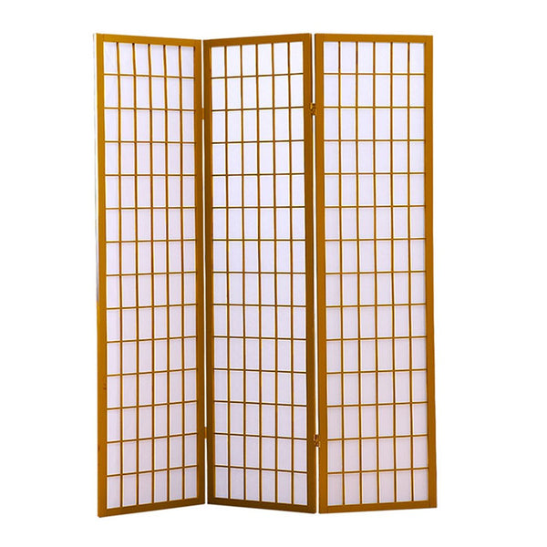 3 Panel Free Standing Foldable  Room Divider Privacy Screen  Wood Frame