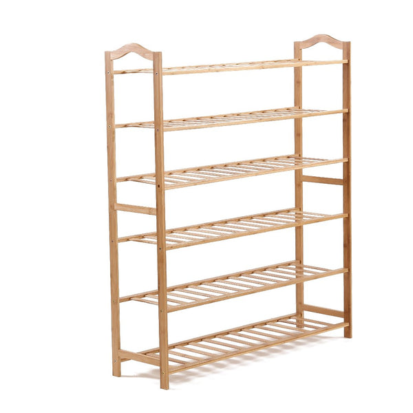 Bamboo Shoe Rack Storage Wooden Organizer Shelf Stand 6 Tiers Layers 80cm