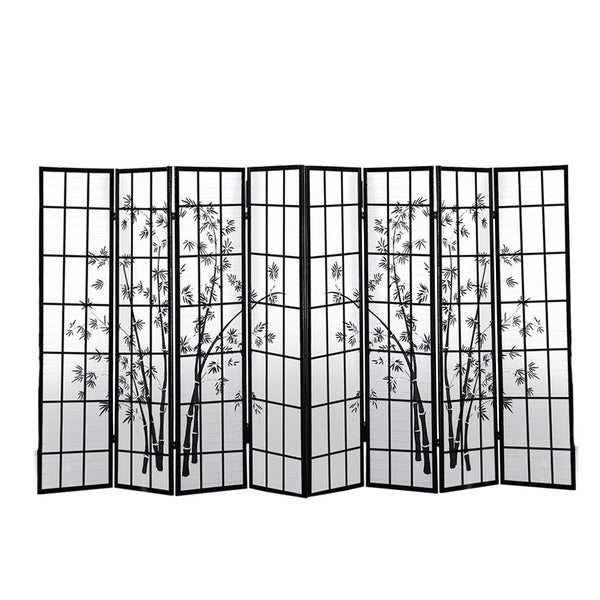 8 Panel Free Standing Foldable  Room Divider Privacy Screen Bamboo Print