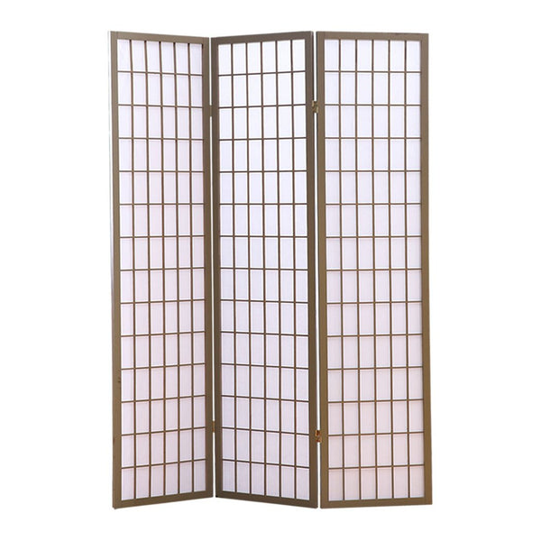 3 Panel Room Divider Screen Door Stand Privacy Fringe Wood Fold Grey