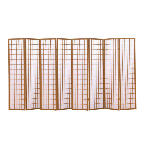 8 Panel Free Standing Foldable  Room Divider Privacy Screen Wood Frame