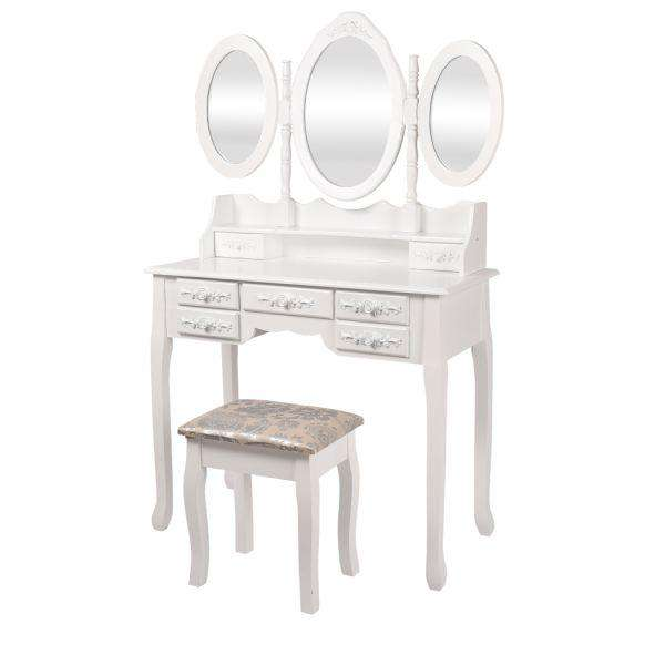 LEVEDE DRESSING TABLE JEWELLERY ORGANISER MIRROR MAKEUP DRAWER BEDROOM FURNITURE