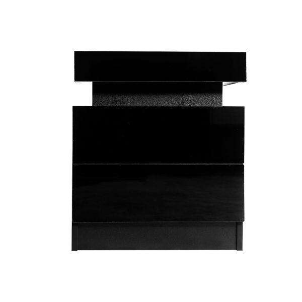 LEVEDE BEDSIDE TABLES DRAWERS RGB LED SIDE TABLE HIGH GLOSS NIGHTSTAND CABINET