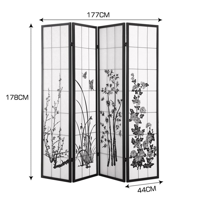 Levede 4 Panel Room Divider Screen Door Stand Privacy Fringe Wood Fold Blossom