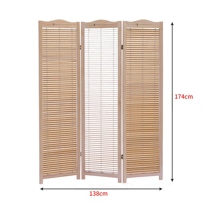 Levede 3 Panel Free Standing Foldable  Room Divider Privacy Screen Wood Frame