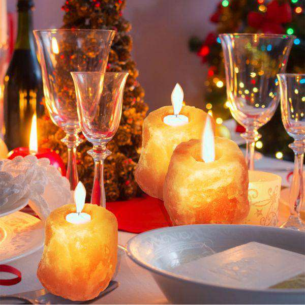 4X NEW HIMALAYAN SALT TEALIGHT CANDLE HOLDER DECOR NATURAL CRYSTAL IONIZER HOME