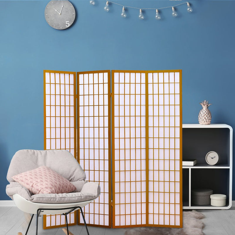 4 Panel Free Standing Foldable  Room Divider Privacy Screen Wood Frame