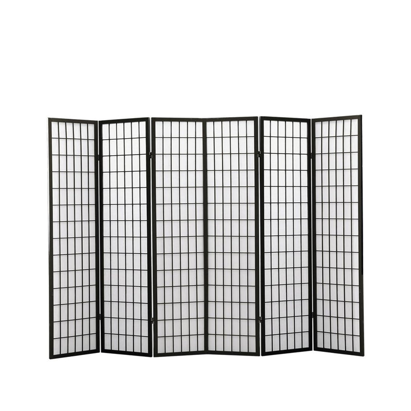 Levede 6 Panel Free Standing Foldable  Room Divider Privacy Screen Black Frame