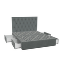 SleepMaker Velvet Base with Side Drawers + Bracket & 150CM Headboard - Sterling Colour