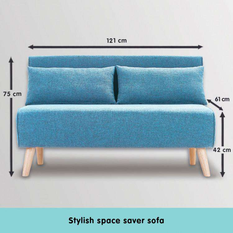3 SEATER FAUX VELVET SOFA BED COUCH FURNITURE - BLUE