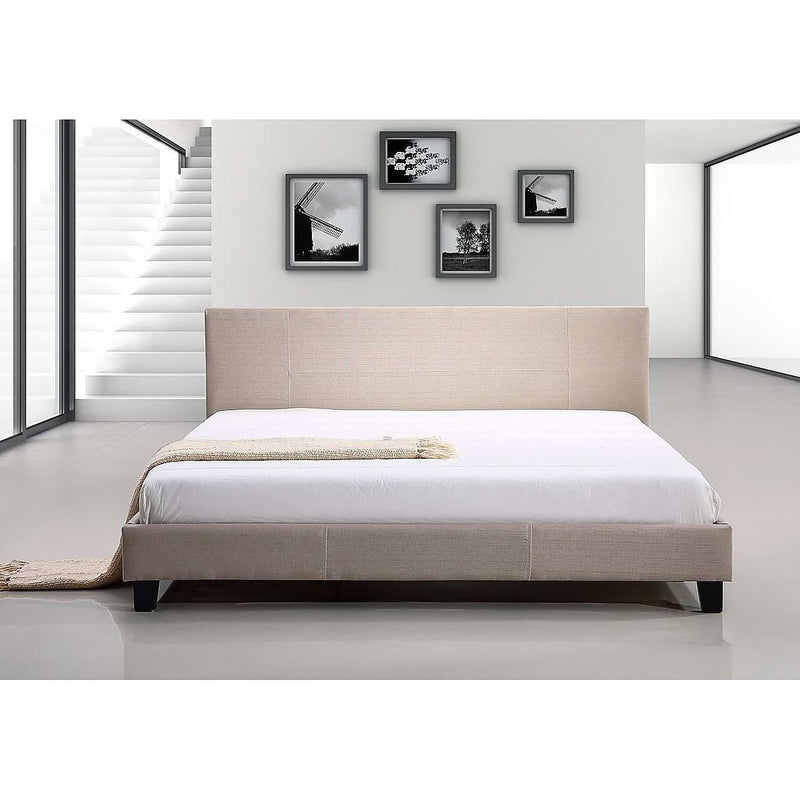Modern Fabric Linen Bed Frame - 2 Colours-Bedframe-Palermo-King Single-Beige-Big Bedding Australia