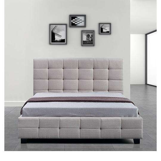 Linen Fabric Deluxe Bed Frame - 2 Colours-Bedframe-Palermo-King Single-Beige-Big Bedding Australia