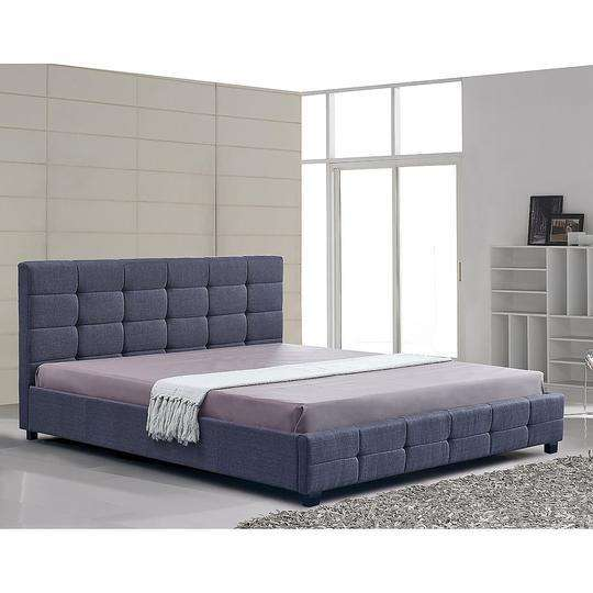Linen Fabric Deluxe Bed Frame - 2 Colours-Bedframe-Palermo-King Single-Grey-Big Bedding Australia