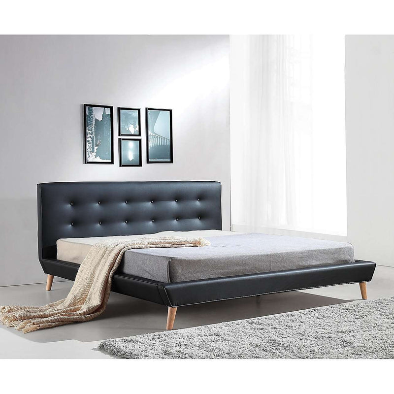 Button Tuft PU Leather Fabric Luxury Bed Frame - 2 Colours-Bedframe-Palermo-Double-Black-Big Bedding Australia
