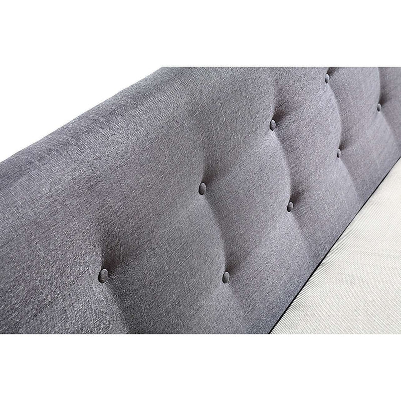 Button Tuft Linen Fabric Luxury Bed Frame-Bedframe-Palermo-Big Bedding Australia