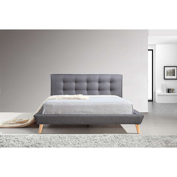 Button Tuft Linen Fabric Luxury Bed Frame-Bedframe-Palermo-Double-Grey-Big Bedding Australia