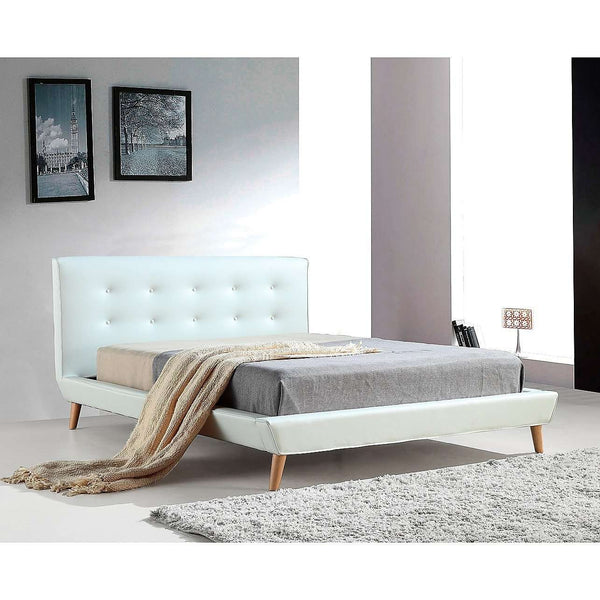 Button Tuft PU Leather Fabric Luxury Bed Frame - 2 Colours-Bedframe-Palermo-Double-White-Big Bedding Australia