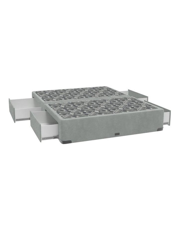 SleepMaker Velvet Base with Side Drawers + Bracket & 120CM Headboard - Zinc Colour