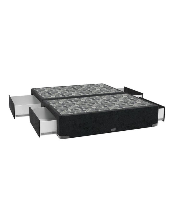 SleepMaker Velvet Base with Side Drawers + Bracket & 150CM Headboard - Black Colour