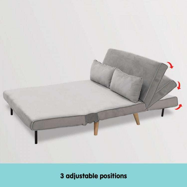 2-SEATER ADJUSTABLE SOFA BED LOUNGE FAUX VELVET FABRIC - LIGHT GREY